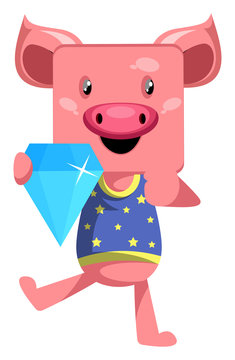 Pig with diamond, illustration, vector on white background.