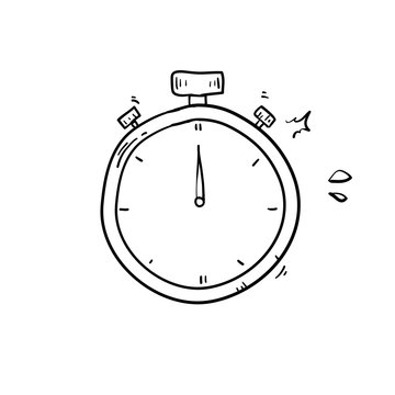 doodle stopwatch icon illustration vector handdrawn style