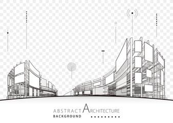 Architecture building construction urban 3D architecture design background.