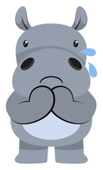 Hippo crying illustration vector on white background.