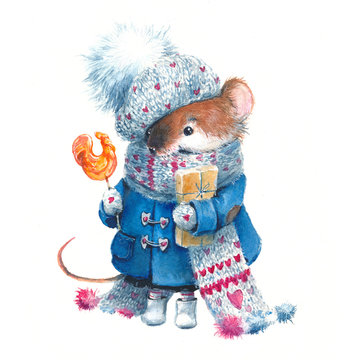 Christmas watercolor mouse, in a coat, in a hat with gifts. New Year, postman, symbol of the year, 2020, postcard.