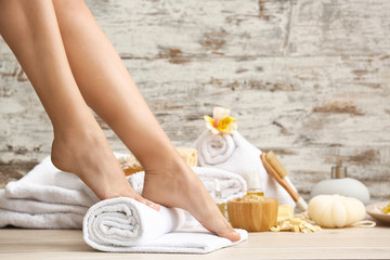 Young woman after spa pedicure treatment in beauty salon Wall mural