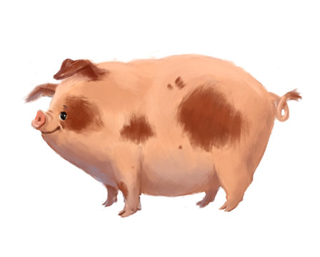 Painted funny spotted pig on a white background