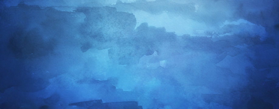 Blue watercolor background with texture and paint bleed, with light center and dark borders in abstract painted cloudy sky design