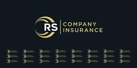 set insurance logo design template