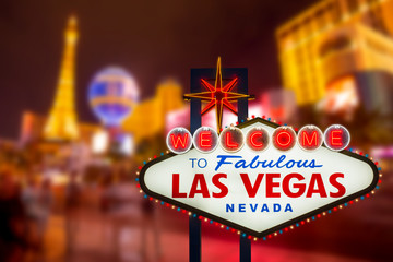 Poster Las Vegas LAS VEGAS - SEP 18 : Welcome to fabulous Las Vegas neon sign with Las Vegas strip road background View of the strip on September 18, 2019