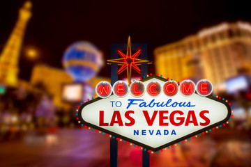 Fotobehang Las Vegas LAS VEGAS - SEP 18 : Welcome to fabulous Las Vegas neon sign with Las Vegas strip road background View of the strip on September 18, 2019
