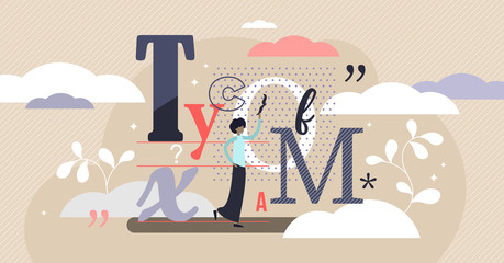 Typography vector illustration. Flat tiny writing technique person concept.