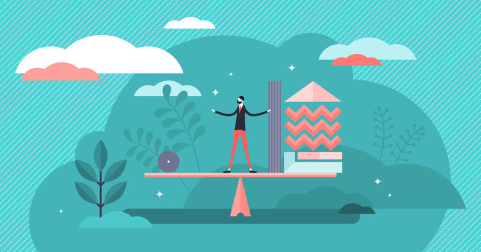 Balance vector illustration. Tiny weight, accounting ability person concept