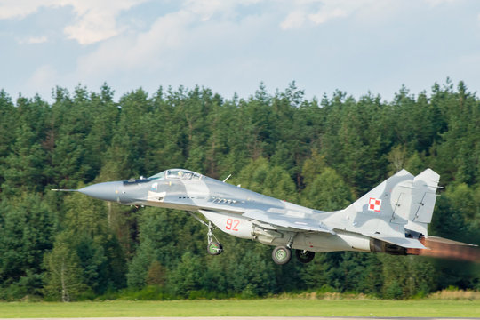 Air Base Swidwin, Poland-June 2016: Mig airplane 29 Polish air forces during military exercises