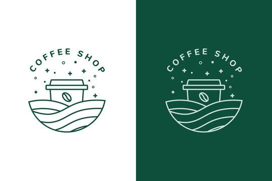 coffee shop logo design vector vintage retro icon sign illustration  coffee with cup mug logo design vintage
