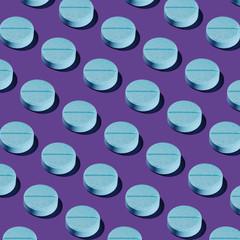 Blue Pharma Pill Pattern on Purple