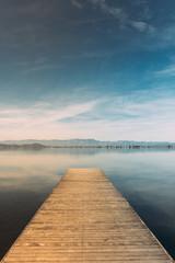 Landscape of pier with a blue sky