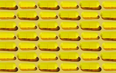 Yellow Pharma Pill Pattern on Pastel Yellow