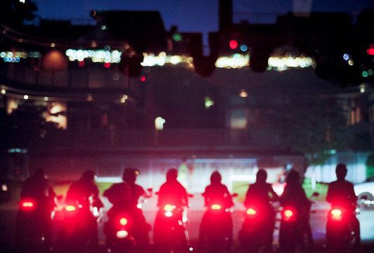 Biker gang at night