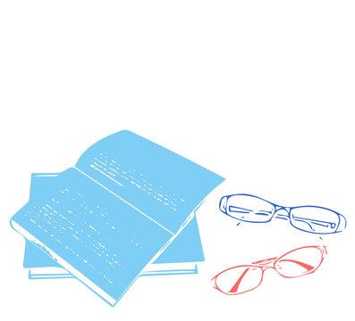 老眼鏡、本、読書、リーディンググラス、メガネ、眼鏡、めがね、シンプル、単色