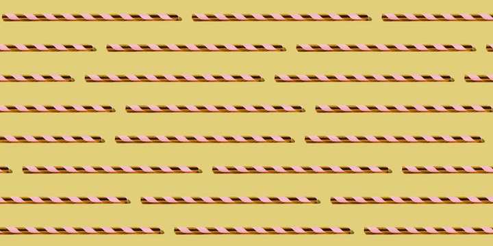 Golden Drinking Straw Pattern on Pastel Yellow