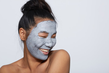 Smiling skincare woman portrait with eyes closed