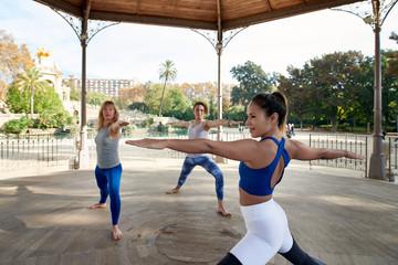 Beautiful woman instructing yoga on terrace