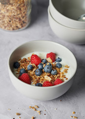 Homemade Granola with Fruit and Yogurt