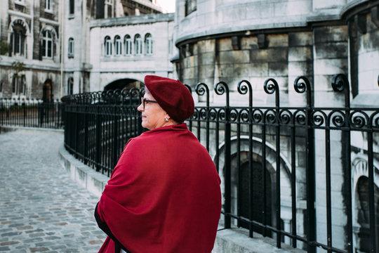 Woman visiting Montmartre district in Paris, France