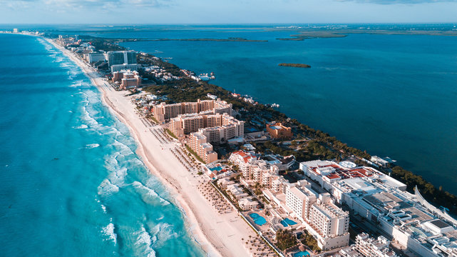 Cancun hotel area drone shot