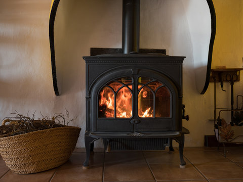 Fire place in a rural home
