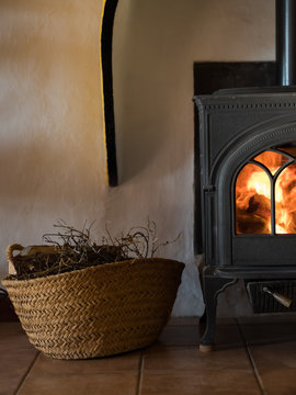 Fire place in rural home