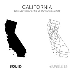 California map. Blank vector map of the Us State with counties. Borders of California for your infographic. Vector illustration.