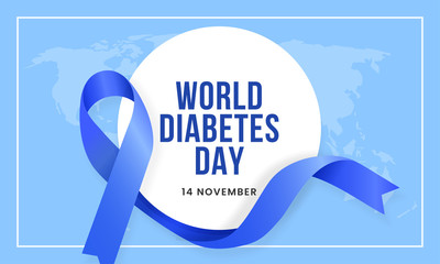World diabetes day awareness poster banner background design with blue ribbon and circle badge on world map banner vector illustration