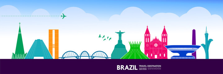 Fototapete - Brazil travel destination vector illustration.