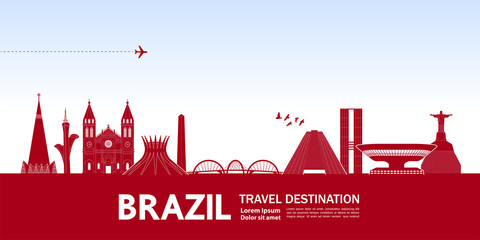 Brazil travel destination vector illustration.