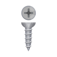 Short gray screw with a cross. Vector illustration on a white background.