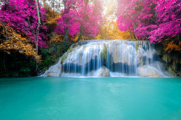 Wall Murals Waterfalls Amazing in nature, beautiful waterfall at colorful autumn forest in fall season