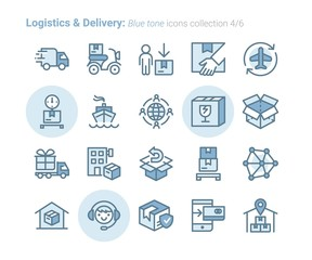 Logistics & Delivery vector icon outline bluetone collection Vol.4/6