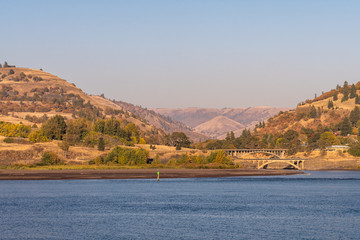 Bridges over the mouth of the klickitat river in the Columbia River next to Lyle, Washington
