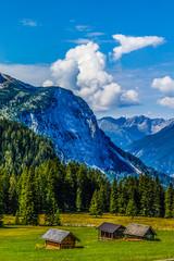 Fototapete - Mountain valley village landscape summer