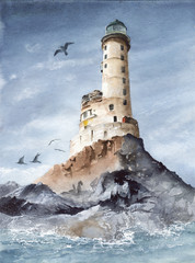 Watercolor picture of the Aniva cape lighthouse on the rocky island with blue sky and seagull