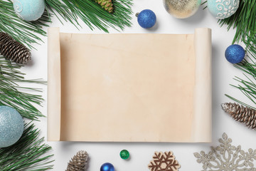 Fotobehang - Blank paper with space for text and Christmas decor on white background, flat lay. Letter to Santa Claus