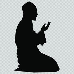 Muslim Man Praying Icon. Vector.