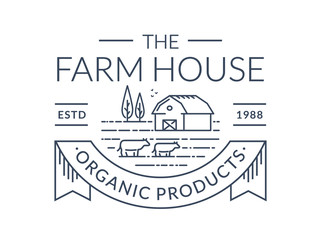 Farm logo. Vector line emblem with farmhouse and cows.