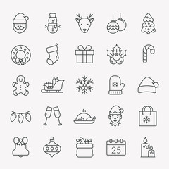 Christmas and New Year line icons. Vector set.