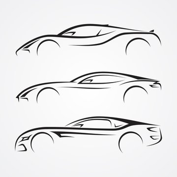 Elegance car sport element silhouette style for your best business symbol