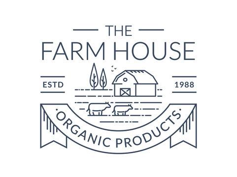 Farm logo. Vector line emblem with farmhouse and cows.