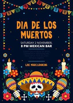 Dia de los muertos festive invitation card design vector illustration. Sugar skull in sombrero with maracas and floral design for invitational Mexican day of dead flat style concept. Copy space