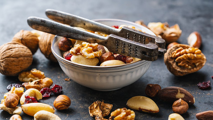 assortment of nuts with Nutcracker