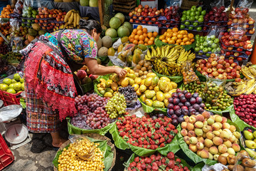 Fruit stall on the local market, Antigua Guatemala, Guatemala