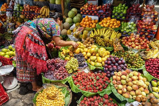 Fruit stall on the local market, Antigua Guatemala, Guatemala