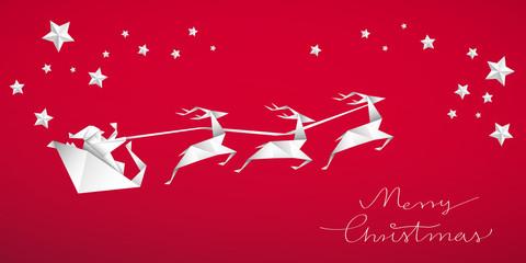 Fototapeta Święty Mikołaj, sanie i renifery. Bożonarodzeniowa kartka z życzeniami