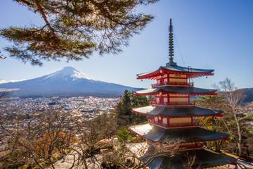 Beautiful landscape Mountain fuji and Chureito Pagoda, Yamanashi, Japan